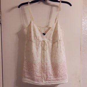 GAP Ombre Pink& White Floral Top Adjustable Straps